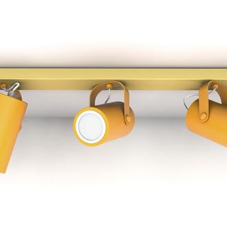 Лампа Спот Жовтий світильник Дерев'яний Точковий світильник на три лампи Припотолочний світильник