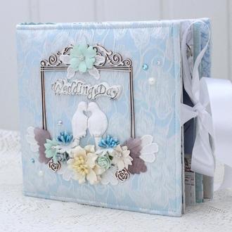 Нежный свадебный скрап альбом , свадебный фотоальбом ручной работы , скрапбукинг свадебный альбом
