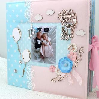 Большой скрап альбом для двойни , фотоальбом для двойняшек, подарок на рождение
