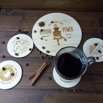 Набор кофейных подставок из дерева под чашки, турку, чайник и т.д.