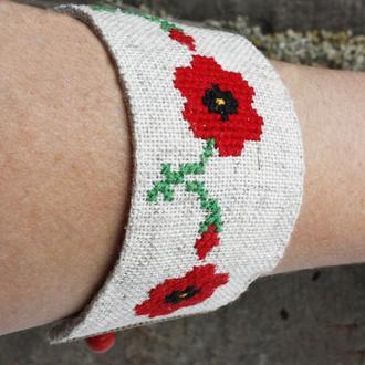 Широкий браслет с маками Летний браслет из ткани в стиле бохо