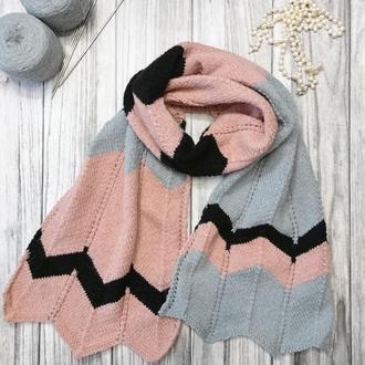 Вязаный шарф, элегантный палантин.