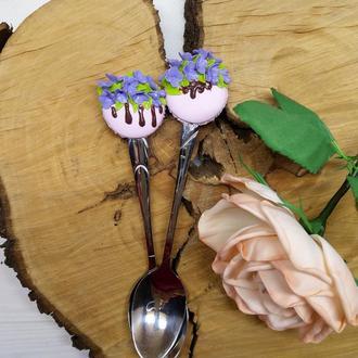 Ложка с декором из полимерной глины