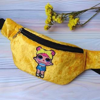 Сумка-бананка с куклой L.O.L, поясная велюровая сумка 73(4),бананка з лялькою лол