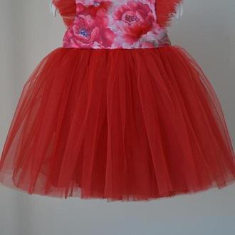 Красивое платье для девочки. маки 74р. 1 год.