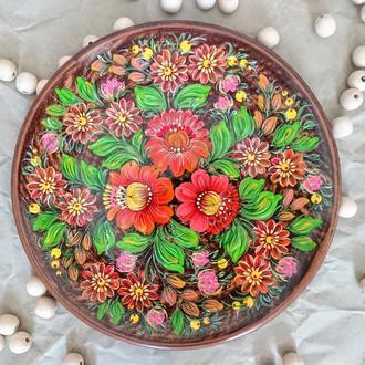 Керамическая тарелка сувенир Петриковская роспись Букет