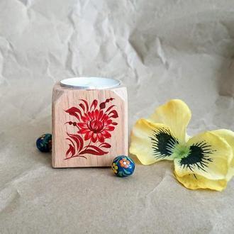 Деревянный подсвечник кубик, роспись