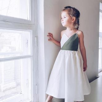 Миди платье с запахом / детский пляжный сарафан / одежда на Бали / натуральная детская одежда