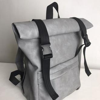 Мужской серый рюкзак ролл для путешествий,нубук