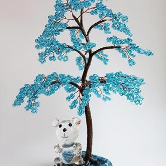 Дерево из бисера с хрустальным мишкой