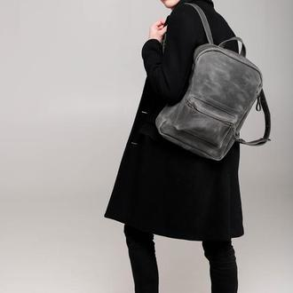 Мужской серый кожаный рюкзак. Женский серый кожаный рюкзак. Рюкзак унисекс. Городской серый рюкзак.