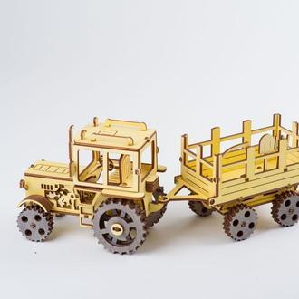 модель - Трактор з причепом, Дерев'яний 3Д Конструктор, 3D пазл , КОНСТРУКТОР