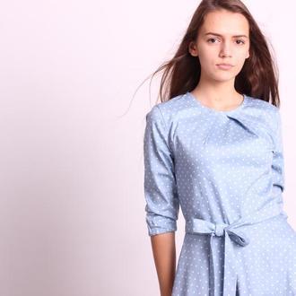 Платье голубое в белый горошек