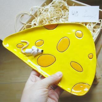 Тарелка сырница керамическая желтая с мышкой