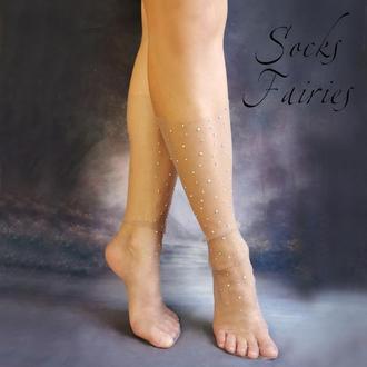 Носочки с россыпью кристаллов из фатина Шоколад молочный Socks Fairies