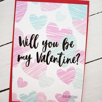"Открытка ""Will you be my Valentine?"""