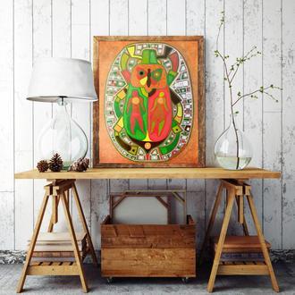 Абстрактная живопись маслом в интерьер. Картина *Жук*