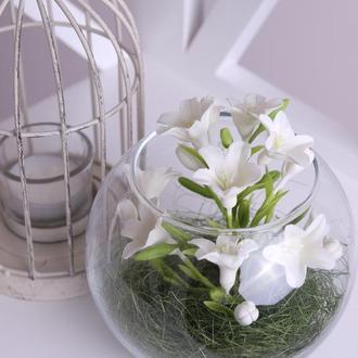 Колокольчики белые. Холодный фарфор. Реалистичные цветы в вазе. Подарок на Новый Год, Рождество.