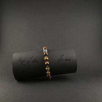 Мужской браслет из тигрового глаза и серебра 925 пр.