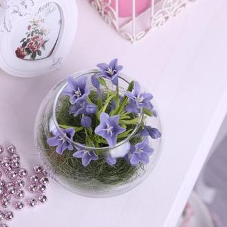 Колокольчики в стеклянной вазе сиреневые. Полимерная глина. Реалистичные цветы. Подарок Новый Год,