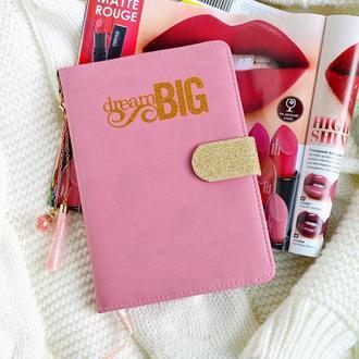 """Планер розовый, недатированный """"Dream big"""" (А5)"""