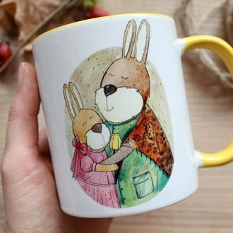 """Чашка с авторской иллюстрацией """" Дякую, що ти завжди зі мною"""""""