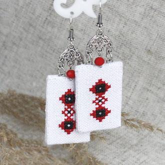 Украинские серьги под вышиванку Красное и черное Этнические сережки с вышивкой Украшения этно