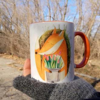 """Чашка с иллюстрацией """" А в душе всегда весна"""""""