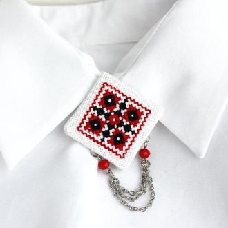 Брошь под воротник Легкая брошка на блузку в этническом стиле красный черный