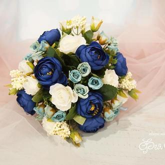 Букет-дублер синий / Букет-дублер для свадьбы синий / Букет невесты Белый / голубой