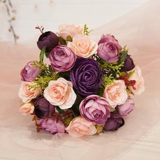 Букет-дублер пудра / Букет-дублер для свадьбы фиолетовый / Букет невесты / Букет подружкам