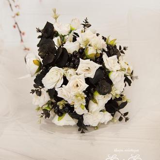 Букет-дублер черно-белый / Букет-дублер для свадьбы белый / Букет невесты / Букет подружкам