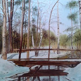 "Алек Гросс. Картина ""В весеннем лесу"". 50х70 см, х., м."