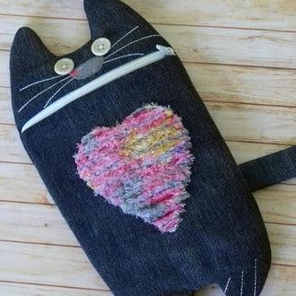 Пенал с котом из ткани, пенал кот в школу, пенал школьный