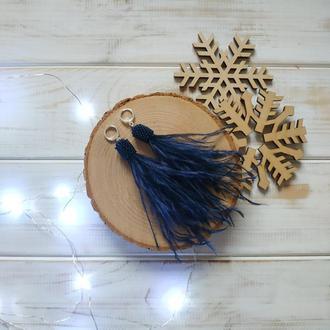 Темно синие серьги перья. Сережки из перьев. Сережки з пір'я