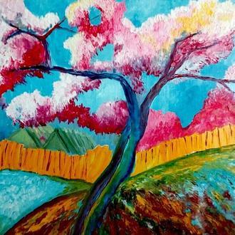Живопись. Картина маслом. Дерево в стиле арт