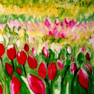 Тюльпаны. Авторская живопись. Масло