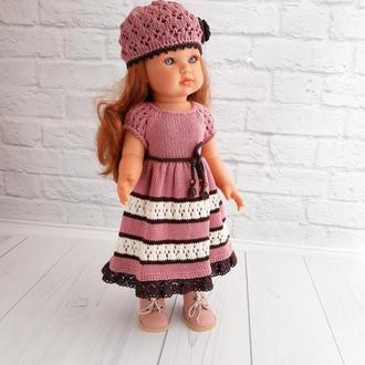 Вязаное платье на куклу Антонио Хуан 45 см, вязаная одежда на кукол 45 см, подарок девочке