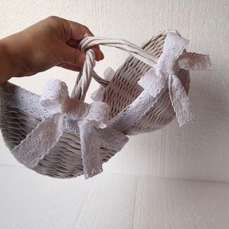 Плетеная корзина D17см Корзина на свадьбу Корзинка для лепестков