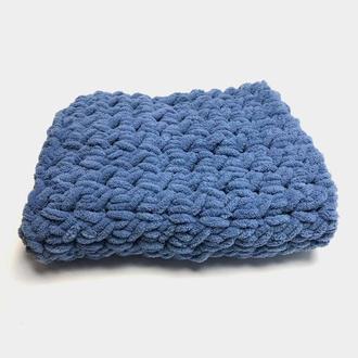 Плед детский плюшевый синий 80×80 см