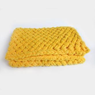 Плед детский плюшевый желтый 80×80 см