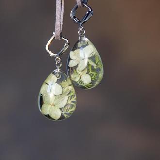 Сережки с цветами (серьги с гортензией, зеленые сережки)