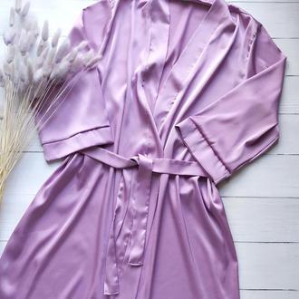 Женский шелковый халат лавандового цвета