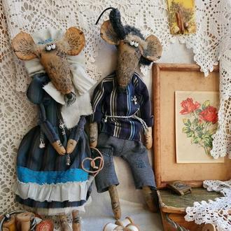 Влюблённые Парочка Крысы Семья Коллекционная кукла Интерьерная кукла