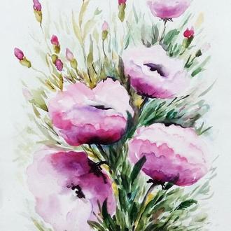 """Картина акварель цветы """"Сиреневый букет""""40 х 30 см"""