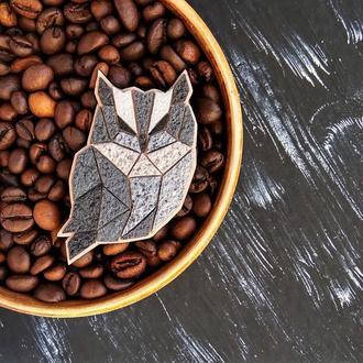 Геометрична брошка пташка Сова. Велика брошка Сова на подарунок. Уютная брошь Сова