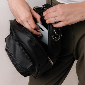 Женская черная сумка-рюкзак, трансформер