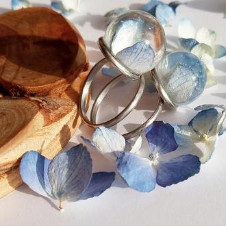 Двойное кольцо с голубыми гортензиями