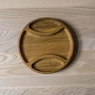 Тарелка на 3 секции из дуба