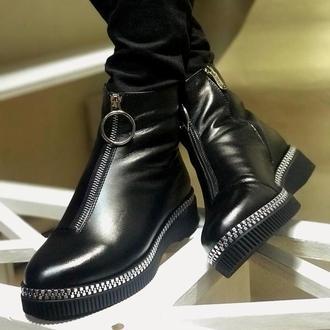 Жіночі черевики чорні, натуральна шкіра. Зима
